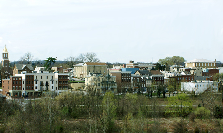 Phoenixville PA with the woods in the foreground