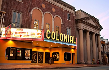 The colonial theatre at night in phoenixville PA