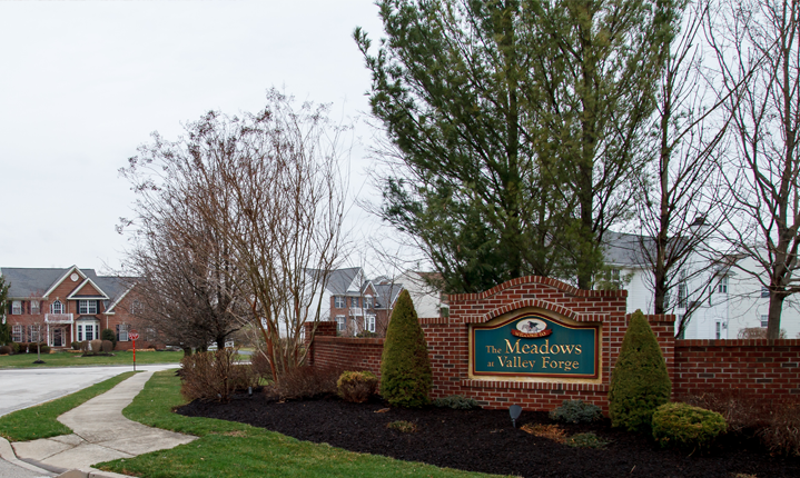 The entrance to The Meadows at Valley Forge community.