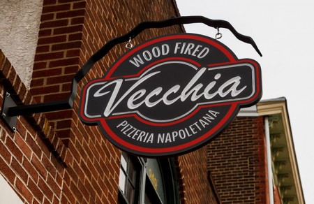 The sign in front Vecchia Pizzeria in Phoenixville Pennsylvania