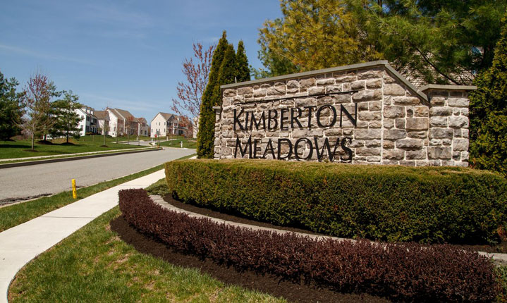 The sign for the Kimberton Meadows Community in Phoenixville Pennsylvania