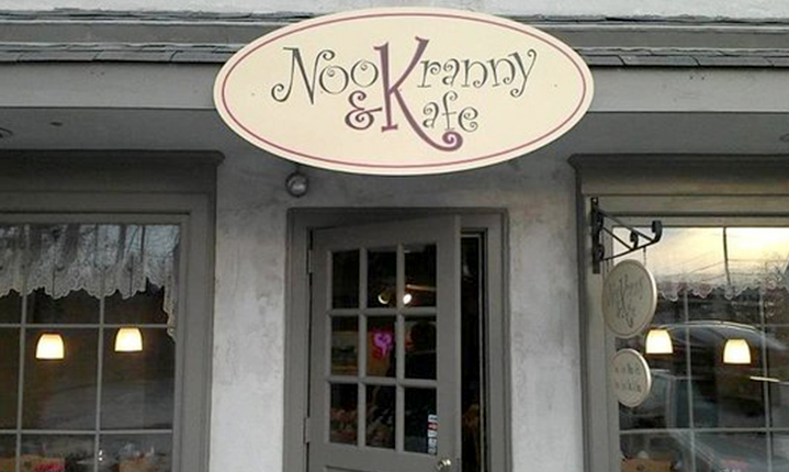a picture of Nook and Kranny Kafe logo and restaurant